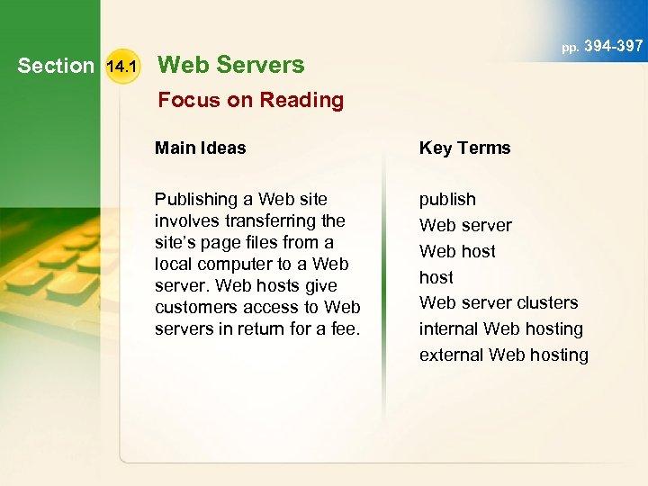 Section 14. 1 pp. 394 -397 Web Servers Focus on Reading Main Ideas Key
