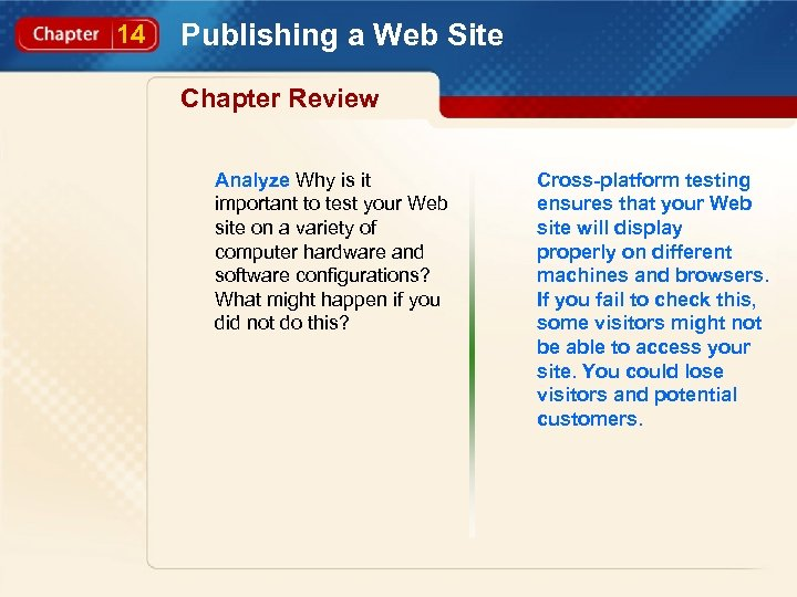 14 Publishing a Web Site Chapter Review Analyze Why is it important to test