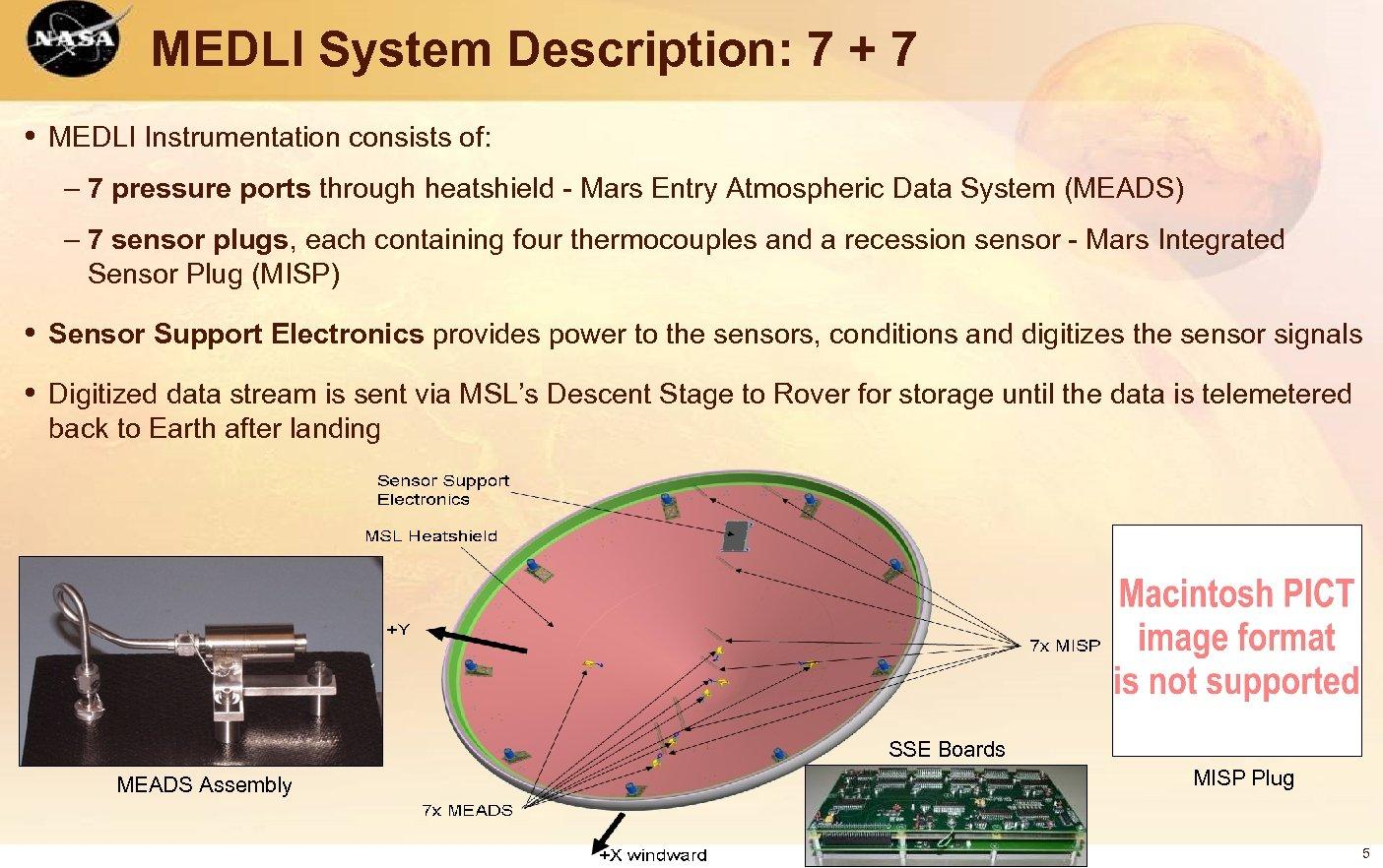 MEDLI System Description: 7 + 7 • MEDLI Instrumentation consists of: – 7 pressure