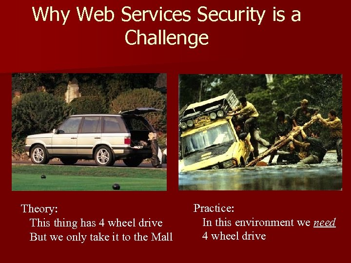 Why Web Services Security is a Challenge Theory: This thing has 4 wheel drive