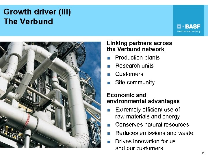 Growth driver (III) The Verbund Linking partners across the Verbund network ■ Production plants
