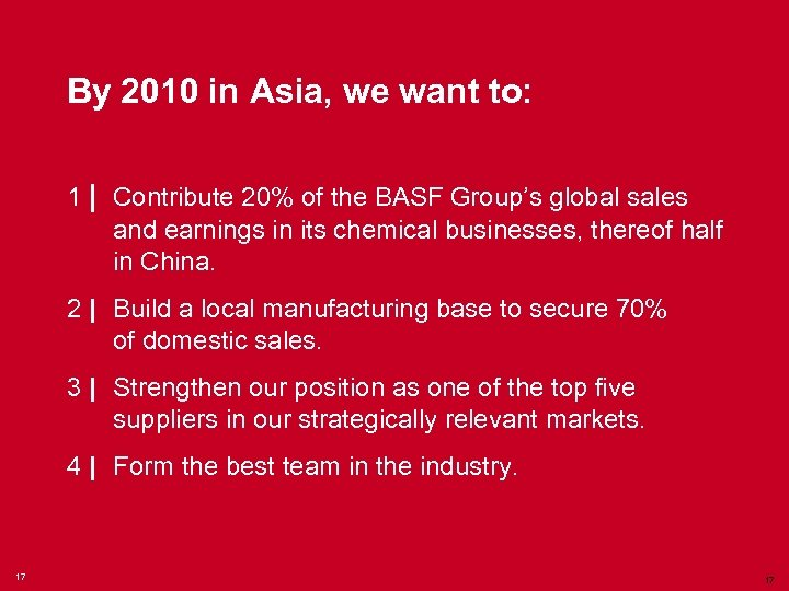 By 2010 in Asia, we want to: 1   Contribute 20% of the BASF