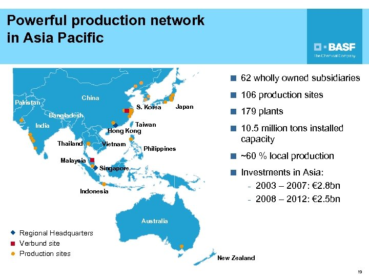 Powerful production network in Asia Pacific ¢ 62 wholly owned subsidiaries ¢ 106 production