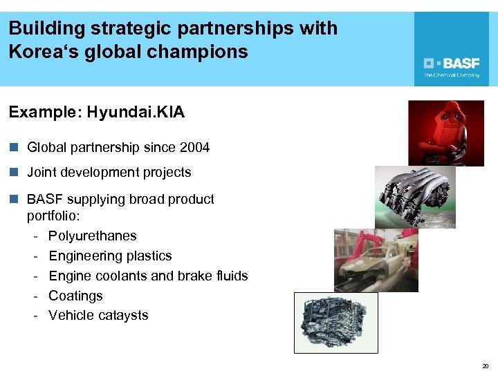 Building strategic partnerships with Korea's global champions Example: Hyundai. KIA n Global partnership since