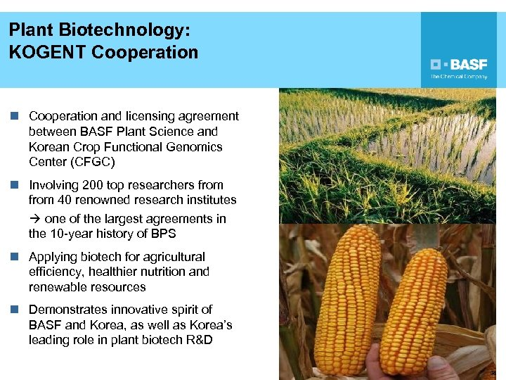 Plant Biotechnology: KOGENT Cooperation n Cooperation and licensing agreement between BASF Plant Science and