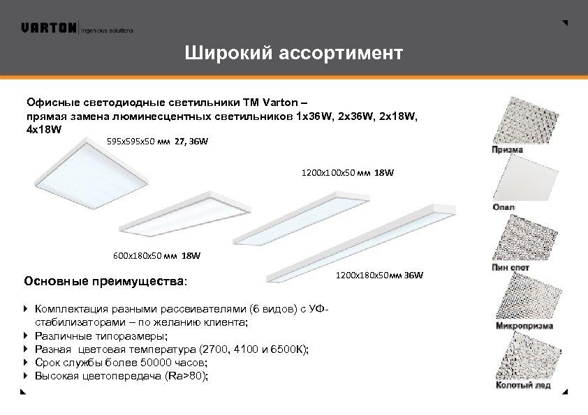 Широкий ассортимент Офисные светодиодные светильники ТМ Varton – прямая замена люминесцентных светильников 1 х36