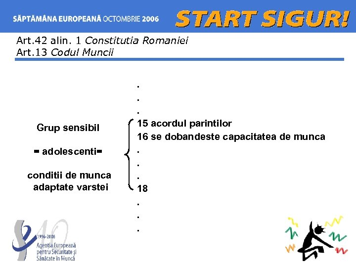 Art. 42 alin. 1 Constitutia Romaniei Art. 13 Codul Muncii Grup sensibil = adolescenti=