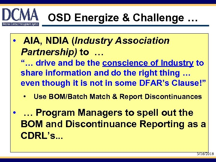 "OSD Energize & Challenge … • AIA, NDIA (Industry Association Partnership) to … ""…"