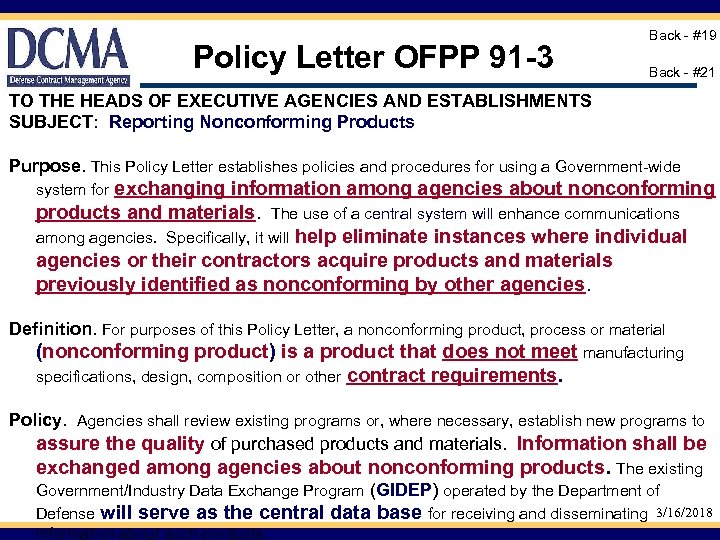 Policy Letter OFPP 91 -3 Back - #19 Back - #21 TO THE HEADS