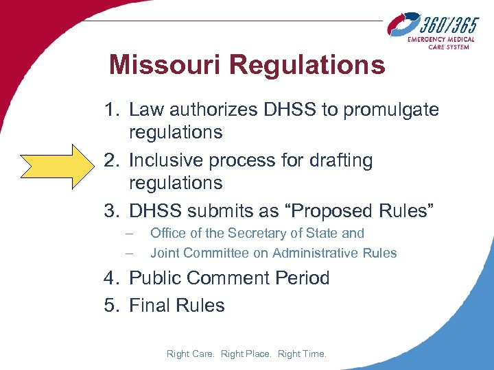 Missouri Regulations 1. Law authorizes DHSS to promulgate regulations 2. Inclusive process for drafting