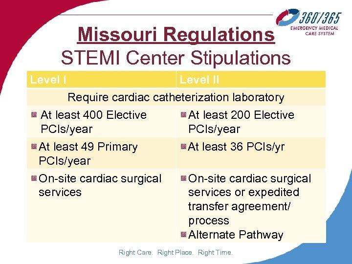 Missouri Regulations STEMI Center Stipulations Level II Require cardiac catheterization laboratory At least 400