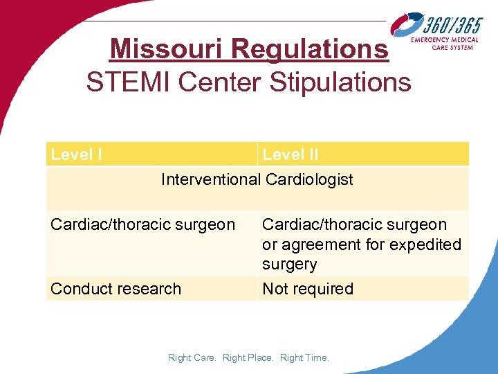 Missouri Regulations STEMI Center Stipulations Level II Interventional Cardiologist Cardiac/thoracic surgeon or agreement for