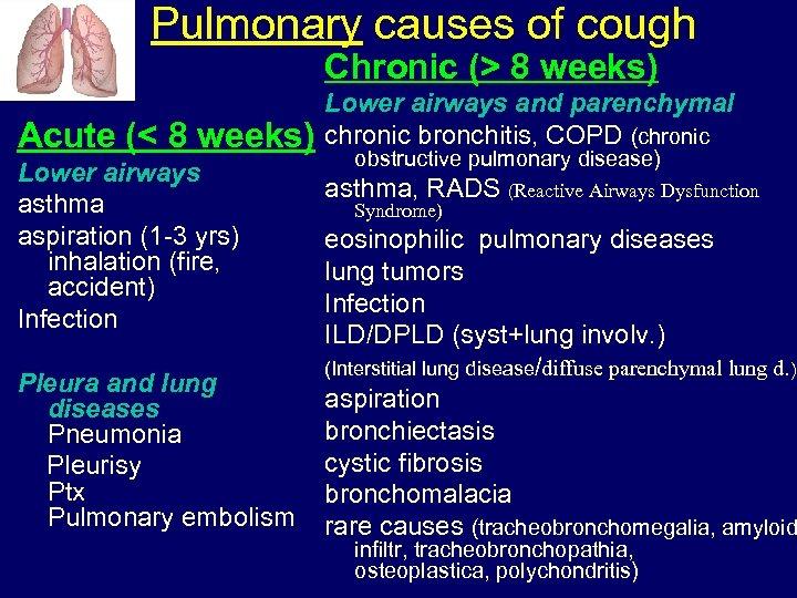 Pulmonary causes of cough Chronic (> 8 weeks) Acute (< 8 weeks) Lower airways