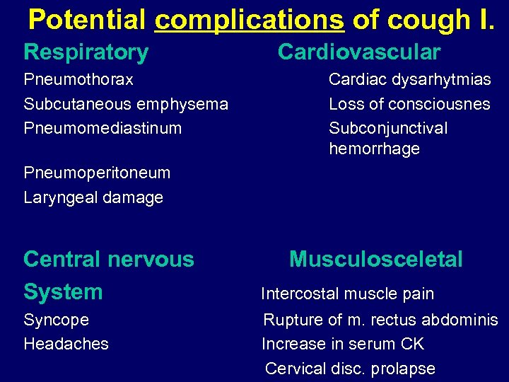 Potential complications of cough I. Respiratory Pneumothorax Subcutaneous emphysema Pneumomediastinum Cardiovascular Cardiac dysarhytmias Loss