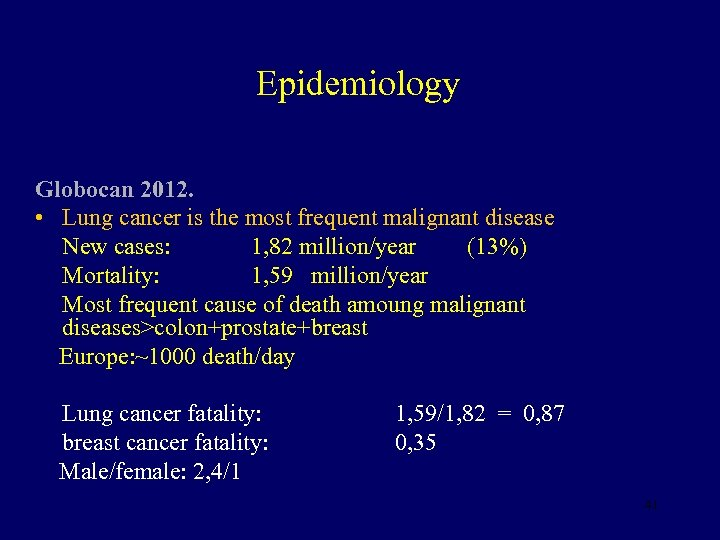 Epidemiology Globocan 2012. • Lung cancer is the most frequent malignant disease New cases: