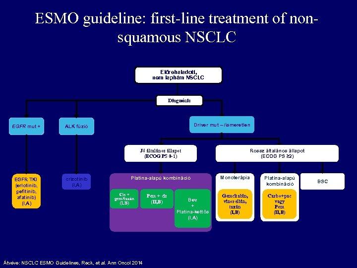 ESMO guideline: first-line treatment of nonsquamous NSCLC Előrehaladott, nem laphám NSCLC Diagnózis EGFR mut