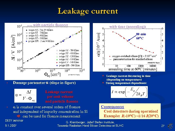 Leakage current …. with particle fluence: with time (annealing): 80 min 60 C §