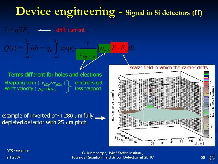 Device engineering - Signal in Si detectors (II) drift current scalar field in which