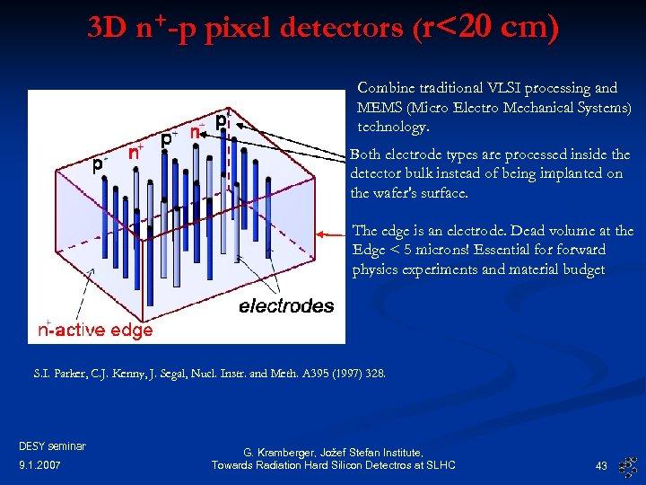 3 D n+-p pixel detectors (r<20 cm) Combine traditional VLSI processing and MEMS (Micro