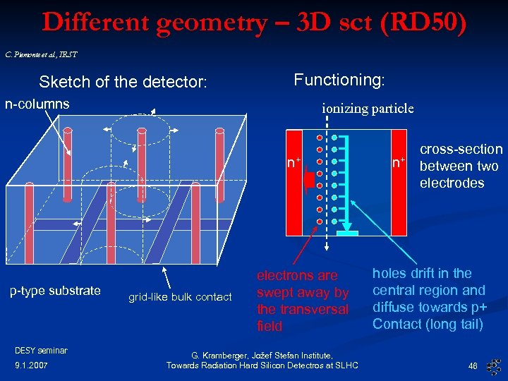 Different geometry – 3 D sct (RD 50) C. Piemonte et al. , IRST