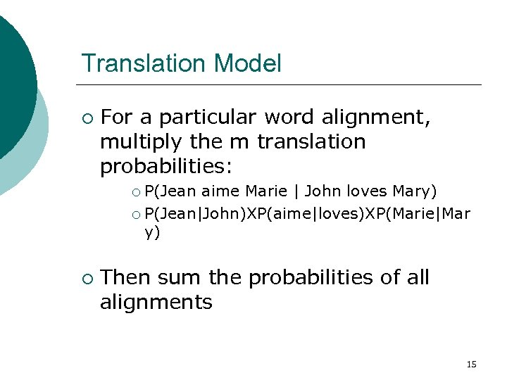 Translation Model ¡ For a particular word alignment, multiply the m translation probabilities: P(Jean