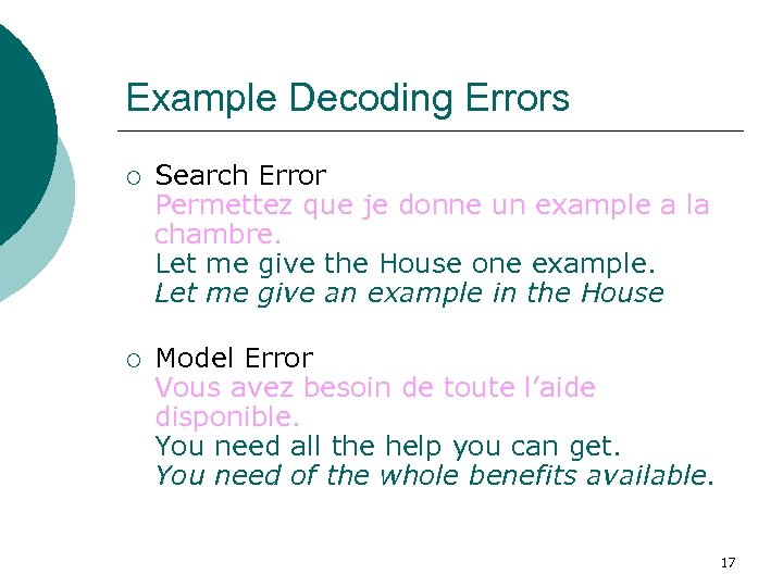 Example Decoding Errors ¡ Search Error Permettez que je donne un example a la
