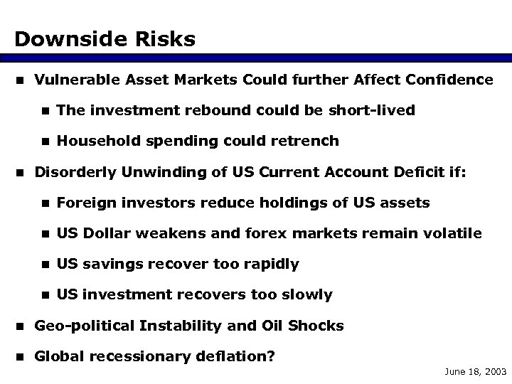 Downside Risks n Vulnerable Asset Markets Could further Affect Confidence n The investment rebound