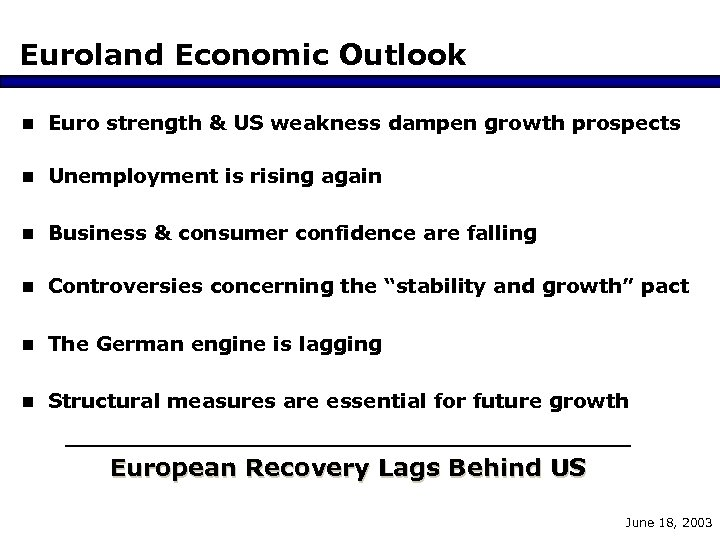 Euroland Economic Outlook n Euro strength & US weakness dampen growth prospects n Unemployment