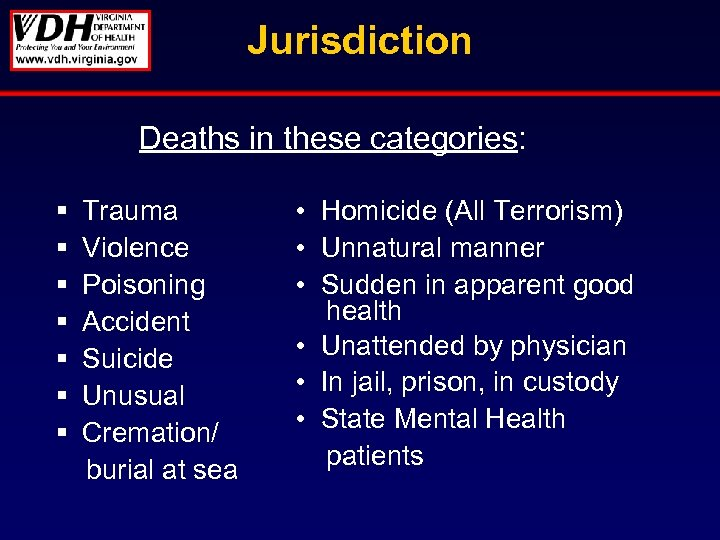 Jurisdiction Deaths in these categories: § § § § Trauma Violence Poisoning Accident Suicide