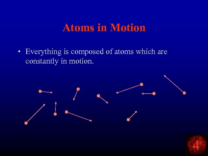 Atoms in Motion • Everything is composed of atoms which are constantly in motion.