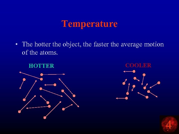 Temperature • The hotter the object, the faster the average motion of the atoms.