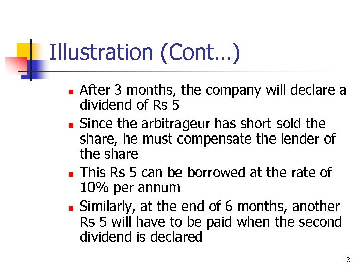 Illustration (Cont…) n n After 3 months, the company will declare a dividend of