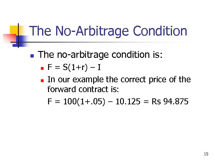 The No-Arbitrage Condition n The no-arbitrage condition is: n n F = S(1+r) –