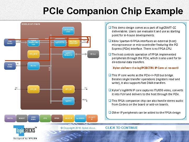 PCIe Companion Chip Example q This demo design comes as a part of logi.