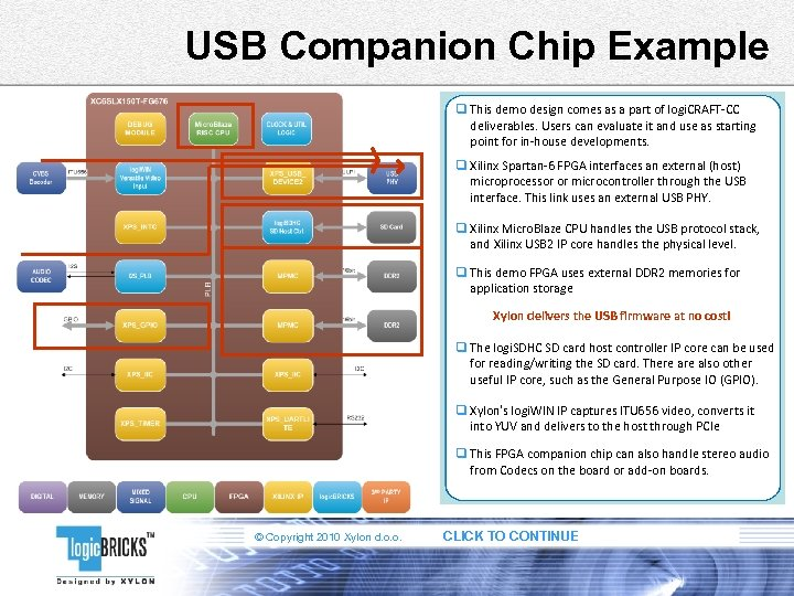 USB Companion Chip Example q This demo design comes as a part of logi.