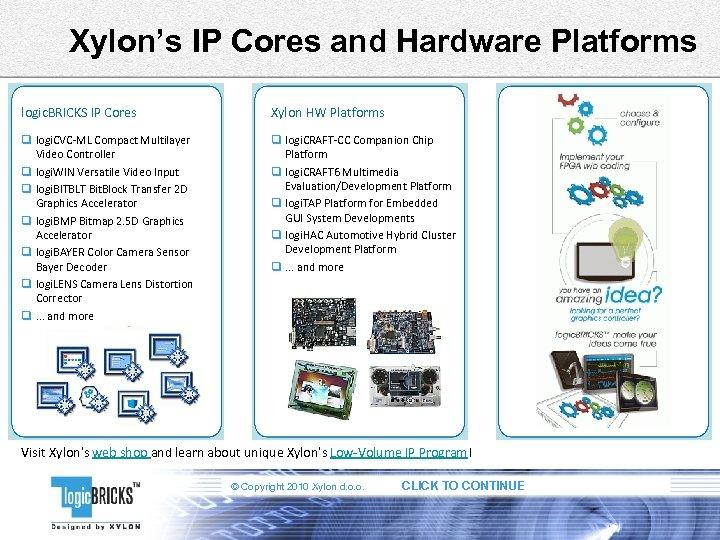 Xylon's IP Cores and Hardware Platforms logic. BRICKS IP Cores Xylon HW Platforms q
