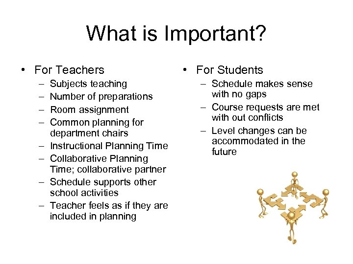 What is Important? • For Teachers – – – – Subjects teaching Number of