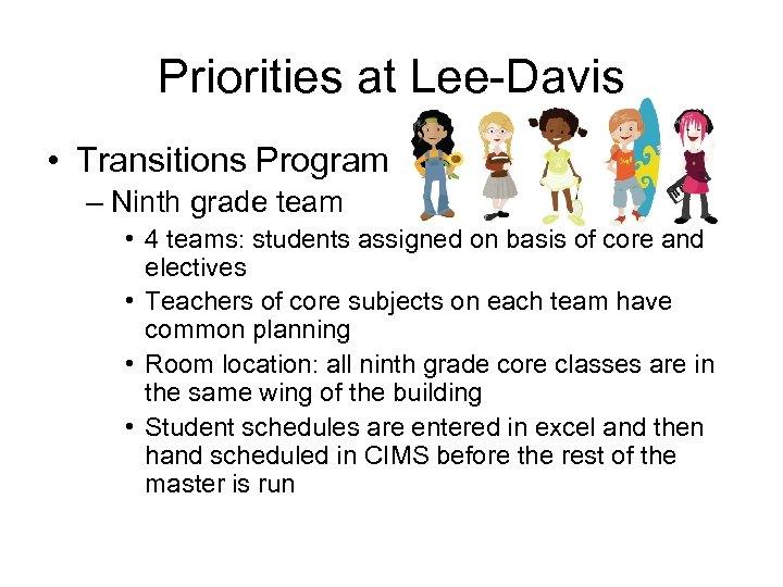 Priorities at Lee-Davis • Transitions Program – Ninth grade team • 4 teams: students