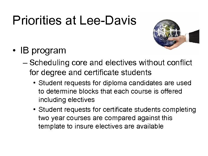 Priorities at Lee-Davis • IB program – Scheduling core and electives without conflict for