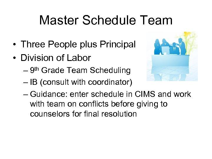 Master Schedule Team • Three People plus Principal • Division of Labor – 9
