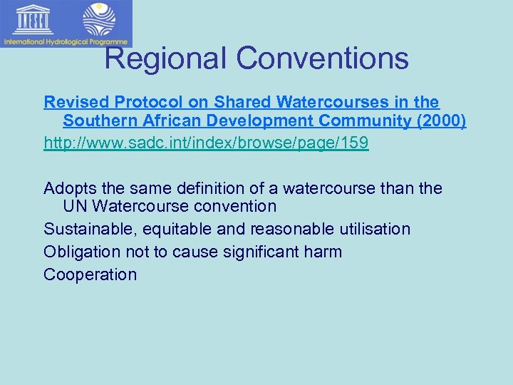 Regional Conventions Revised Protocol on Shared Watercourses in the Southern African Development Community (2000)