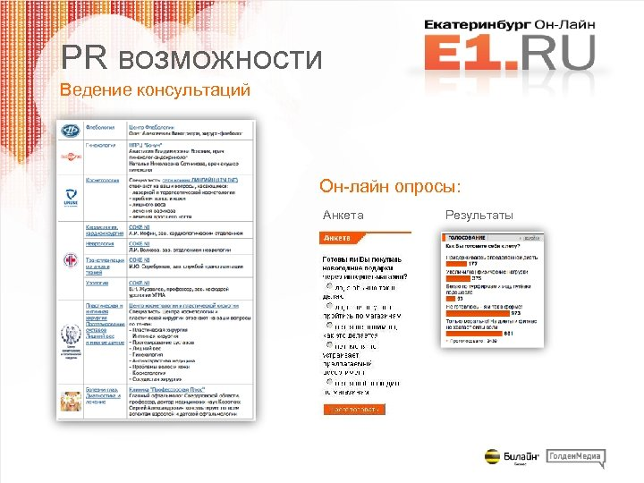 PR возможности Ведение консультаций Он-лайн опросы: Анкета Результаты