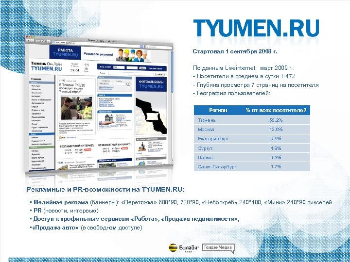 Стартовал 1 сентября 2008 г. По данным Liveinternet, март 2009 г. : - Посетители