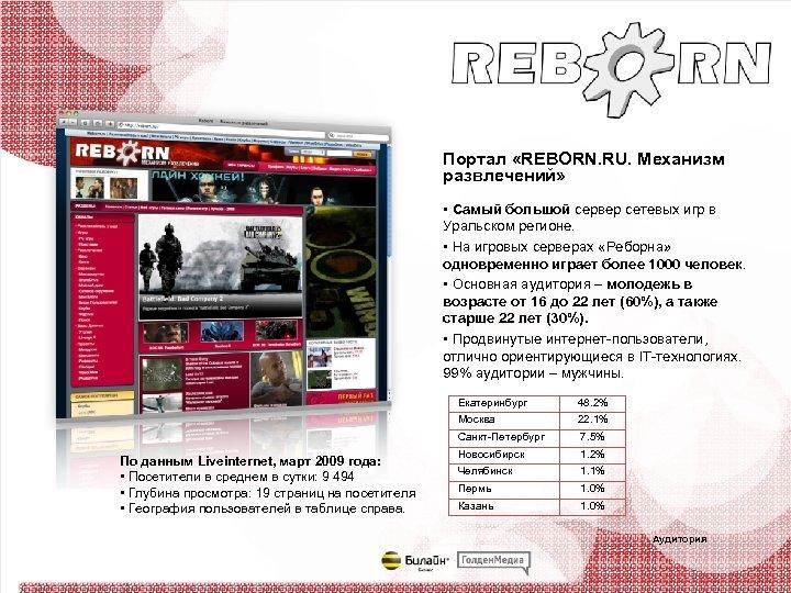 Портал «REBORN. RU. Механизм развлечений» • Самый большой сервер сетевых игр в Уральском регионе.