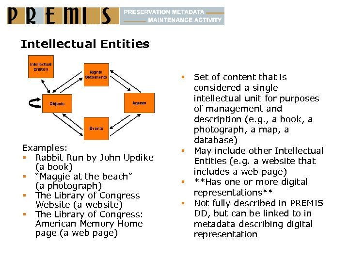 "Intellectual Entities § Examples: § Rabbit Run by John Updike (a book) § ""Maggie"
