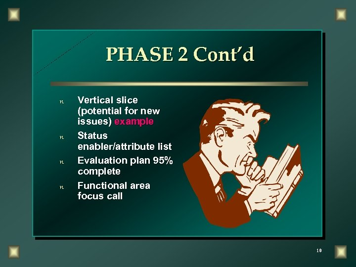 PHASE 2 Cont'd n n Vertical slice (potential for new issues) example Status enabler/attribute