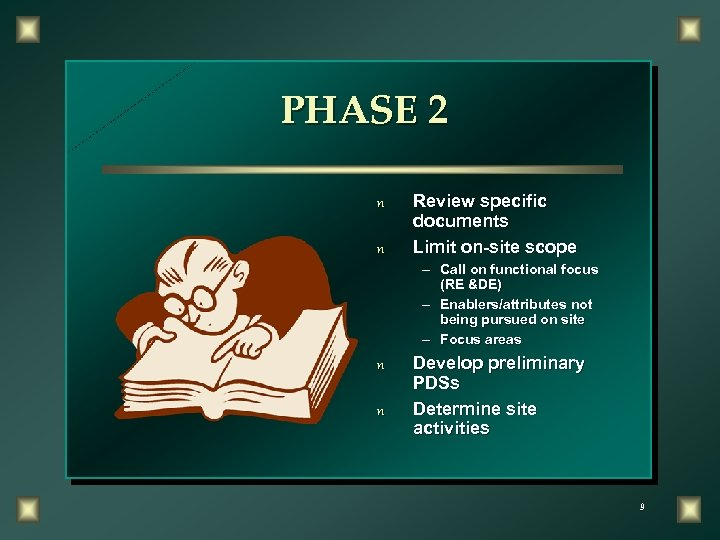 PHASE 2 n n Review specific documents Limit on-site scope – Call on functional