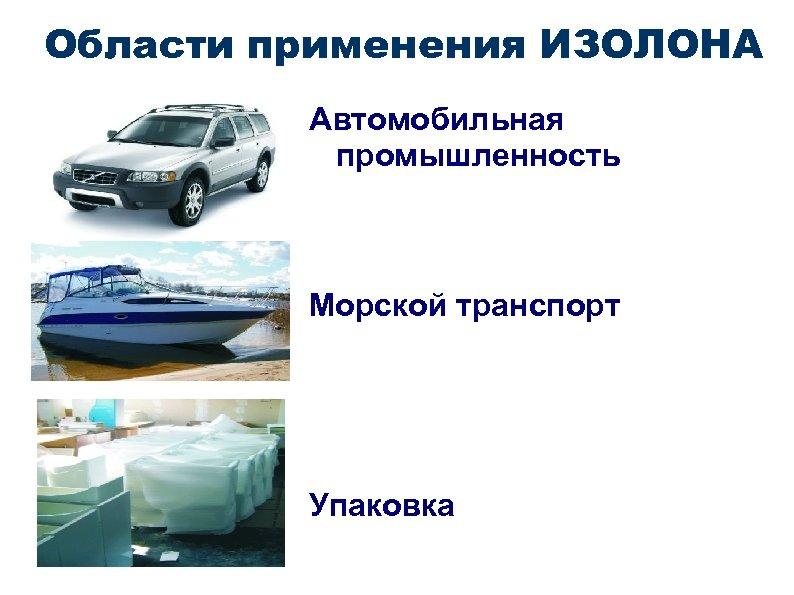 Области применения ИЗОЛОНА Автомобильная промышленность Морской транспорт Упаковка