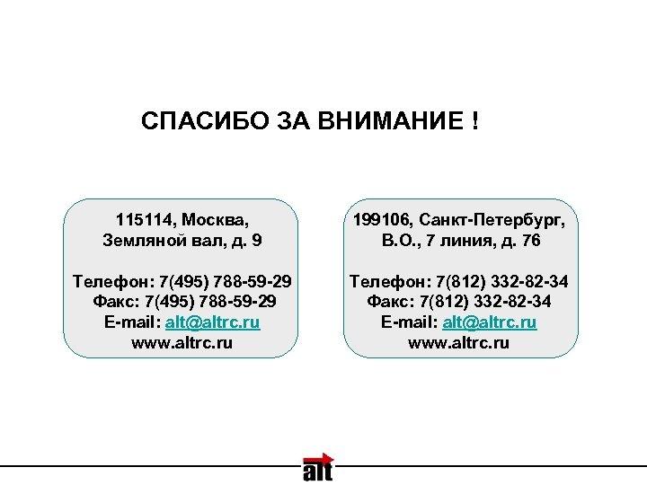 СПАСИБО ЗА ВНИМАНИЕ ! 115114, Москва, Земляной вал, д. 9 199106, Санкт-Петербург, В. О.
