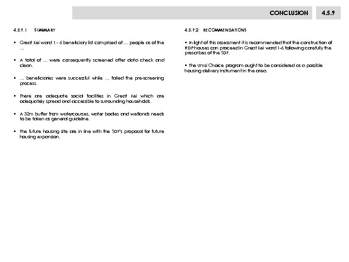 CONCLUSION 4. 5. 9. 1 SUMMARY • Great Kei ward 1 - 6 beneficiary